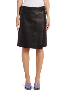 Women's Bottega Veneta Plonge Leather Wrap Skirt