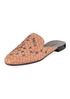 Bottega Veneta Woven Leather Mule Flat with Snakeskin Stitching