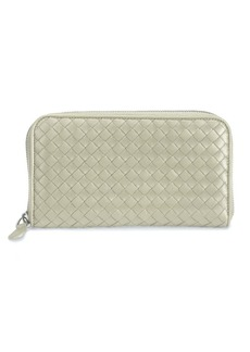 Bottega Veneta Intrecciato Zip Continental Leather Wallet