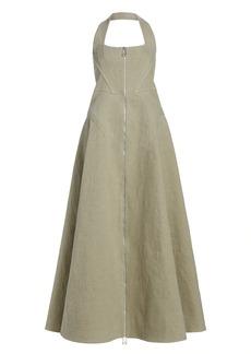 Bottega Veneta Zip-Front Halter Maxi Dress