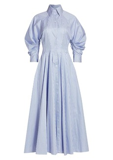 Brandon Maxwell Blouson Sleeve Striped Cotton Shirt Dress