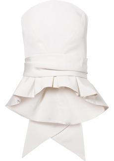 Brandon Maxwell Bow-detailed Silk-twill Bustier Top