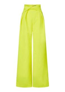 Brandon Maxwell - Women's Draped Moiré Wide-Leg Pants - Yellow/black - Moda Operandi