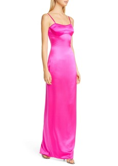 Brandon Maxwell Bustier Silk Satin Column Gown