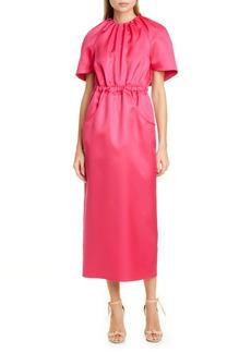 Brandon Maxwell Cape Sleeve Wool & Silk Dress