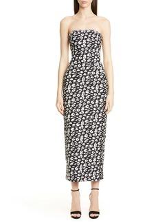 Brandon Maxwell Cheetah Print Shantung Strapless Tea Length Dress