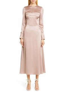 Brandon Maxwell Convertible Bodice Sueded Charmeuse Dress