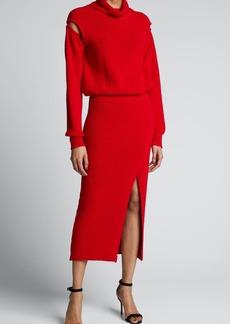 Brandon Maxwell Cowl-Neck Knit Cold-Shoulder Midi Dress