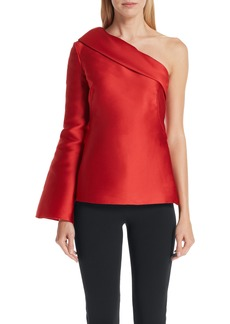 Brandon Maxwell Fold Over One-Shoulder Top