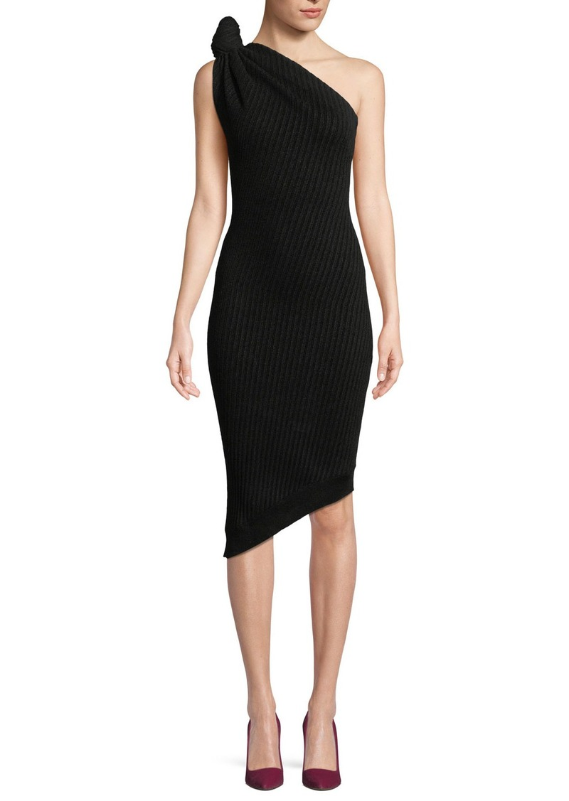 9caecf62602 Brandon Maxwell Brandon Maxwell Knotted One-Shoulder Ribbed-Knit ...