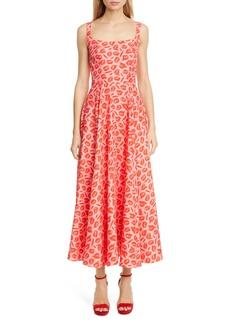 Brandon Maxwell Lip Print Fit & Flare Dress