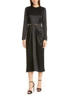 Brandon Maxwell Long Sleeve Wrap Skirt Midi Dress