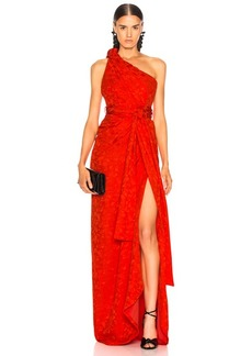 Brandon Maxwell Satin Jacquard One Shoulder Twist Front Gown
