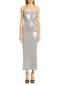 Brandon Maxwell Sequin Strapless Sheath Dress