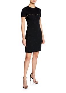 Brandon Maxwell Short-Sleeve Silk Cocktail Dress w/ Golden Zipper Detail
