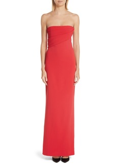 Brandon Maxwell Strapless Ribbed Bodice Crepe Gown