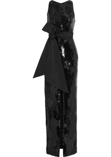 Brandon Maxwell Woman Bow-detailed Sequined Crepe Gown Black