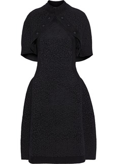 Brandon Maxwell Woman Cape-back Button-detailed Metallic Jacquard-knit Dress Black