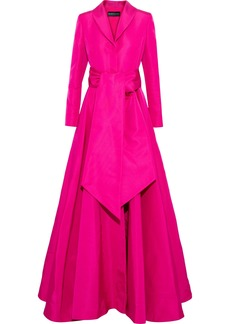 Brandon Maxwell Woman Fluted Belted Silk-faille Gown Fuchsia