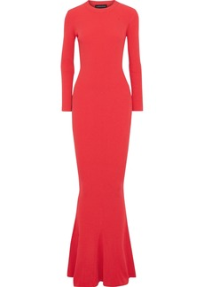 Brandon Maxwell Woman Fluted Ribbed-knit Maxi Dress Red