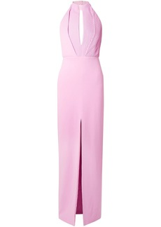Brandon Maxwell Woman Pintucked Crepe Halterneck Gown Baby Pink