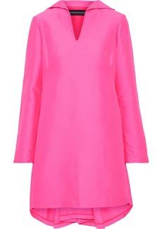 Brandon Maxwell Woman Pleated Duchesse-satin Mini Dress Bright Pink