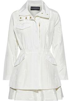 Brandon Maxwell Woman Tiered Cotton-blend Moire Mini Dress Ivory
