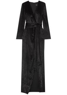 Brandon Maxwell Woman Wrap-effect Metallic Fil Coupé Velvet Gown Black