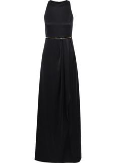 Brandon Maxwell Woman Zip-embellished Pleated Silk-satin Gown Black