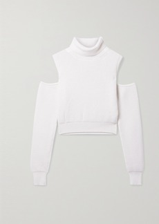 Brandon Maxwell Cold-shoulder Ribbed Wool-blend Turtleneck Sweater