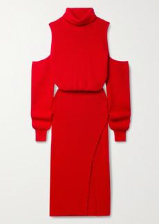Brandon Maxwell Cold-shoulder Wool-blend Turtleneck Midi Dress