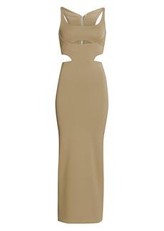 Brandon Maxwell Crepe Jersey Cutout Cocktail Dress