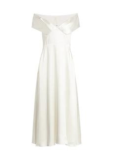 Brandon Maxwell Crepe Satin Off-The-Shoulder A-line Midi Dress