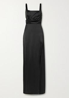 Brandon Maxwell Cutout Draped Silk-satin Gown