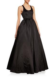 Brandon Maxwell Duchess Satin Scoop-Neck Ball Gown