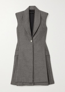Brandon Maxwell Herringbone Wool Mini Dress