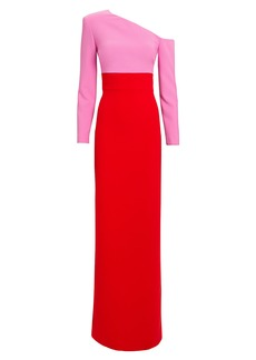 Brandon Maxwell Off Shoulder Colorblocked Gown