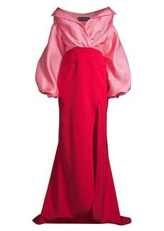 Brandon Maxwell Off-The-Shoulder Satin Gazaar Two-Tone Gown