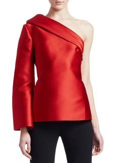 Brandon Maxwell One-Shoulder Silk-Blend Foldover Top