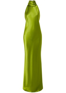 Brandon Maxwell Open-back Silk-charmeuse Halterneck Gown