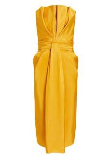 Brandon Maxwell Petal Front Strapless Dress