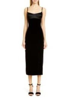 Brandon Maxwell Satin & Velvet Bustier Midi Dress
