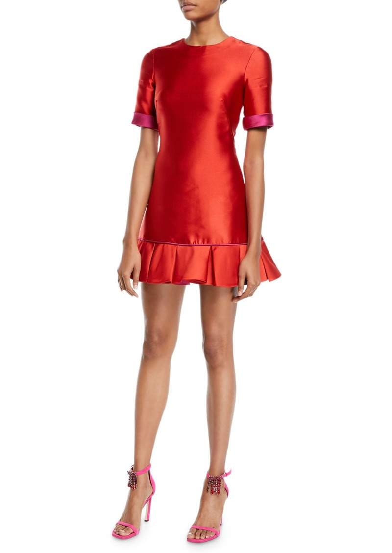 Red Satin Cocktail Dress Short | Saddha