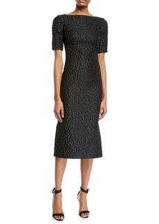 Brandon Maxwell Short-Sleeve Leopard-Jacquard Midi Sheath Cocktail Dress dc03e7697
