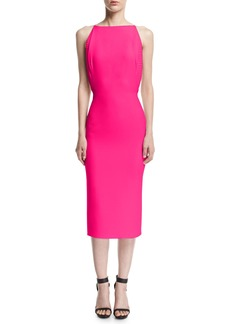 Brandon Maxwell Silk Crepe Open-Back Cocktail Dress