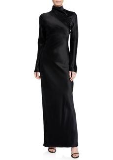 Brandon Maxwell Silk Wrapped Mock-Neck Column Gown