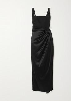 Brandon Maxwell Wrap-effect Stretch-silk And Silk-satin Midi Dress