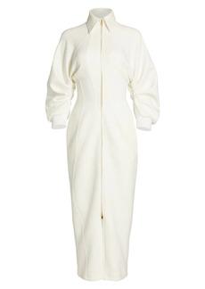 Brandon Maxwell Zip Front Bonded Jersey Sheath Dress