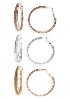 Brass Plum 3-Pack Glitter Hoop Earrings