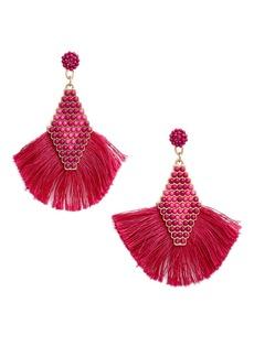 Brass Plum Bead & Fan Tassel Drop Earrings